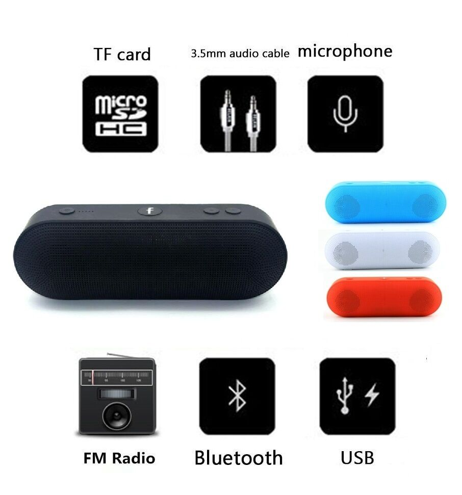 NEW BLUETOOTH PORTABLE SPEAKER WIRELESS BASS STEREO PC TABLET RECHARGEABLE