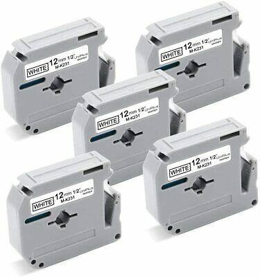 5pk Compatible Label Tape For Brother M Tape M-231 M-k231 12mm Ptm95 Pt 55 60 65