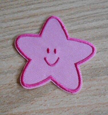 Seestern Pink ( Applikation - Bügelbild Seestern - rosa/pink mit Gesicht - NEU)