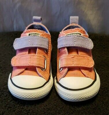 Converse All Star Toddler Girls Size 5 Pink And Purple Double Velcro Low Shoes