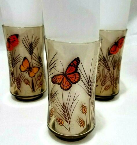 Libbey?  8 Monarch Butterfly Wheat Amber Brown Drinking Glasses