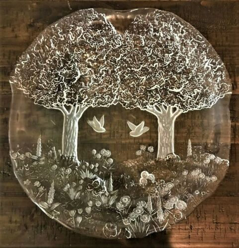 Kosta Boda Vtg Clear/Frosted Art Glass Heavy Relief Freeform Woodlands Charger