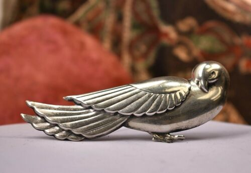 """Vintage Coro Mexico sterling silver large Jensen dove brooch 3 7/8 """""""