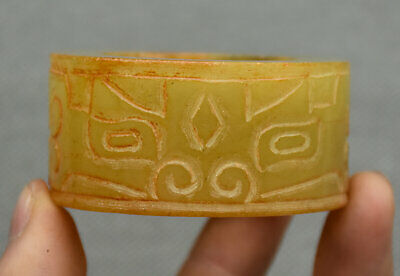 6CM Chinese Hongshan Culture Yellow Jade Cattle Ox Face Yu Cong Zong Pendant