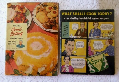 VTG 1949 SPRY Cookbooks ENJOY GOOD EATING EVERY DAY & WHAT SHALL I COOK TODAY?