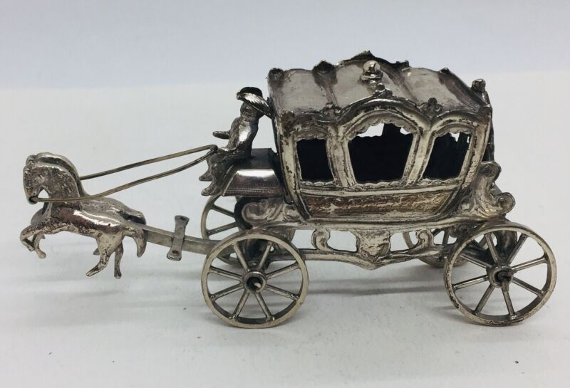 Dutch Antique Sterling Silver Horse Drawn Carriage Miniature