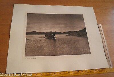 Vintage Edward S Curtis Photogravure Large 18x22 Tweedweave An Inland Waterway