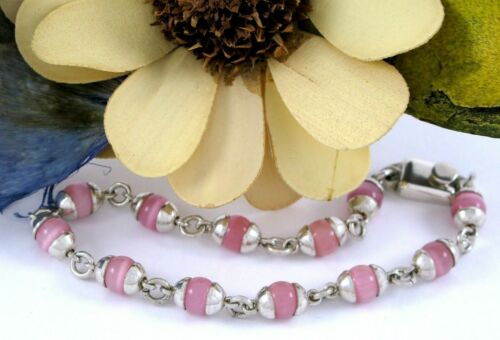 Mexico Sterling Silver 925 Capped Pink Cat's Eye 6mm Ball Beaded Bracelet