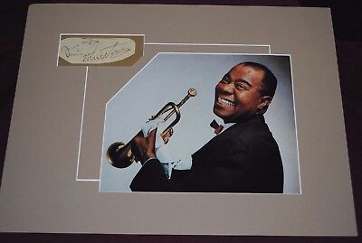 Louis Armstrong Original Signiture w/ Photo (Matted 16 x 12)