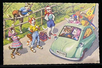 Vintage PC Eug Hartung Alfred Mainzer Anthropomorphic Cats  #4936 Hitchhiking