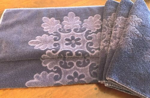Vintage MidCentury 5 Cannon Royal Family Navy Blue Floral Snowflake Towels