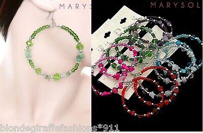 Beaded Earrings-Colored Glass Quartz/Semi-Precious Stone Wire 2 1/2