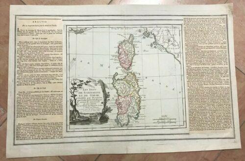 CORSICA SARDINIA DATED 1766 BRION DE LA TOUR NICE ANTIQUE MAP 18TH CENTURY