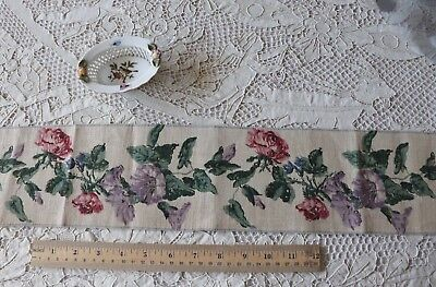 """Vintage French Hand Blocked Linen Rose & Petunia Border Fabric~L-49"""" X W-4"""""""