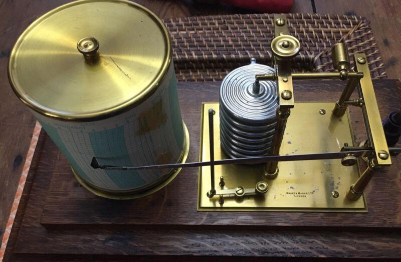 Antique Short & Mason Barograph Recording Barometer Circa 1930's.