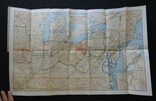 """c.1900 """"Map of the Wheeling & Lake Erie Railways"""" Color Fold-out Railroad Map"""