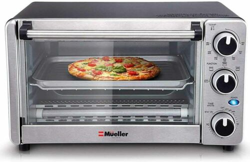 4 Slice Toaster Oven Stainless Steel Countertop Toast Bake Broil 1100W Timer