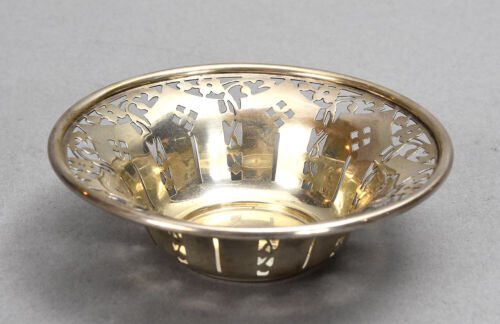 Vintage Birks Canada Round Sterling Silver Reticulated Dish Flared Rim 1.52 ozt