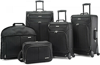 American Tourister 5 Piece Soft Luggage Set Travel Rolling BLACK Suitcase American Tourister Rolling Luggage