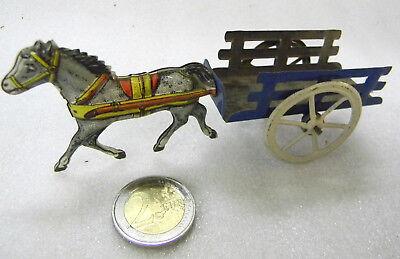 Blechspielzeug TinToy Pennytoy Pferdefuhrwerk Pferdewagen Leiterwagen Antik 1938