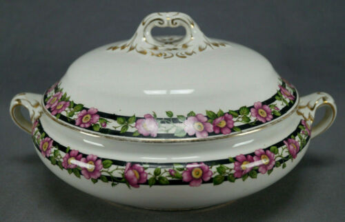 Booths England Pink Wild Roses & Gold Silicon China Covered Vegetable C. 1906 +