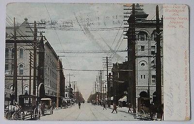 1906 POSTCARD OF VIEW OF WASHINGTON AVE LOOKING NORTH NEWPORT NEWS VIRGINA
