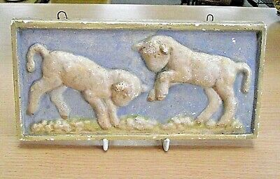 ANTIQUE CHALK PLAQUE - PAIR OF LAMBS PLAYING