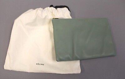 Celine Women's Spring Summer 18 Solo Clutch With Dust Bag HD3 Celadon Lambskin