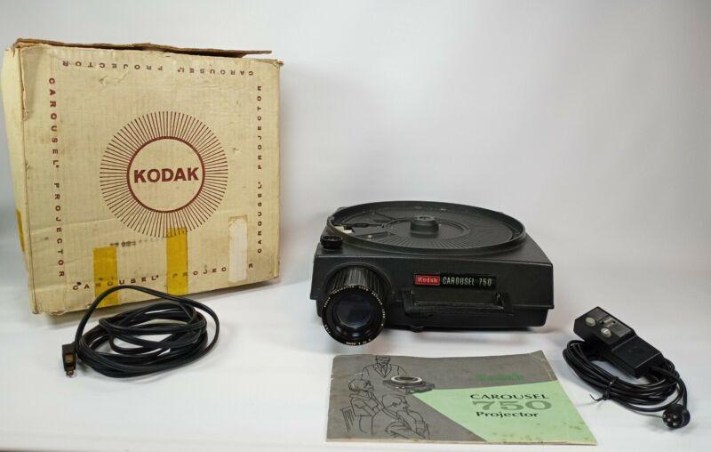 Kodak Carousel Projector 750 W Remote Manual Original Box No Slide Tray Tested