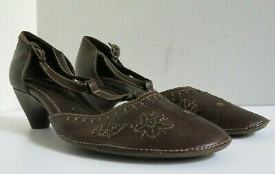 HISPANITAS BROWN LEATHER MARY JANE EMBROIDERED HOBO SANDALS SHOES EUR 42 8.5 9