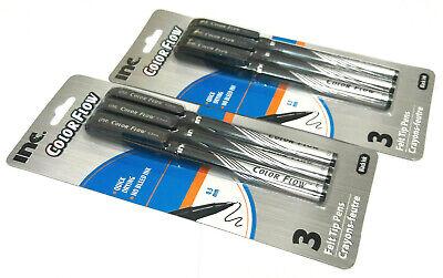 2 Packs 6 Pens Inc Color Flow Felt Tip Pens Black Ink 0.5 Mm