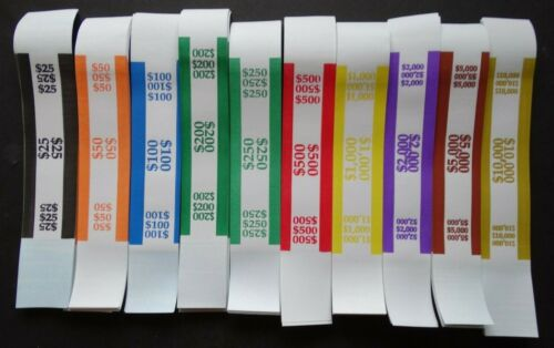 100 Mixed $25 to $10,000 Cash Money Self-Sealing Straps Currency Bands