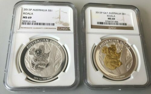 2013P Koala, and 2013P Gilt Koala NGC MS69 - 2 Coins
