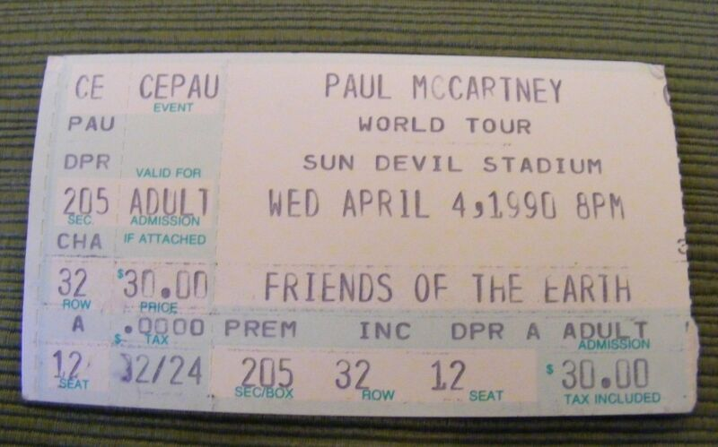 PAUL McCARTNEY FRIENDS OF THE EARTH WORLD TOUR VINTAGE 1990s CONCERT TICKET STUB