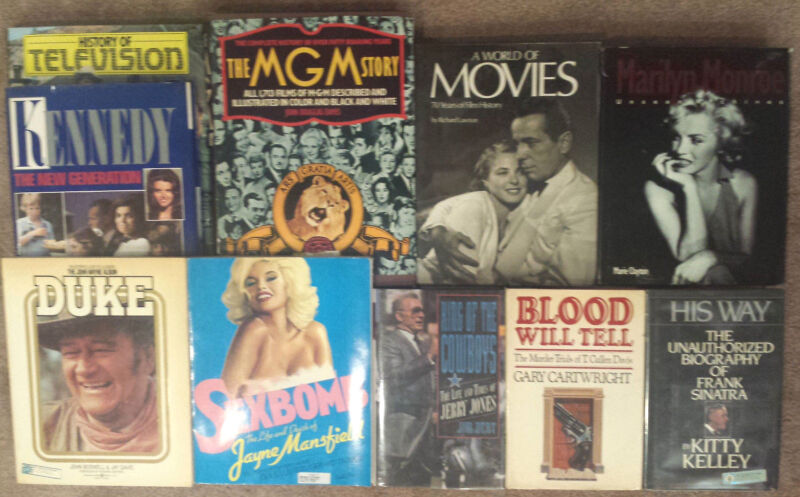 Book LOT of 10 • Celebrity Biographies + • Sinatra • John Wayne • Marilyn Monroe