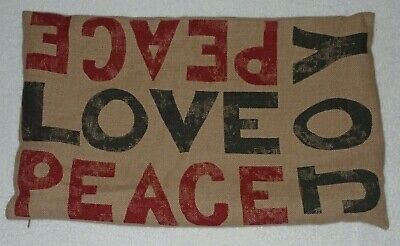 "Pottery Barn Peace Love Joy Linen Christmas Holiday Lumbar Pillow Cover 16"" x26"""