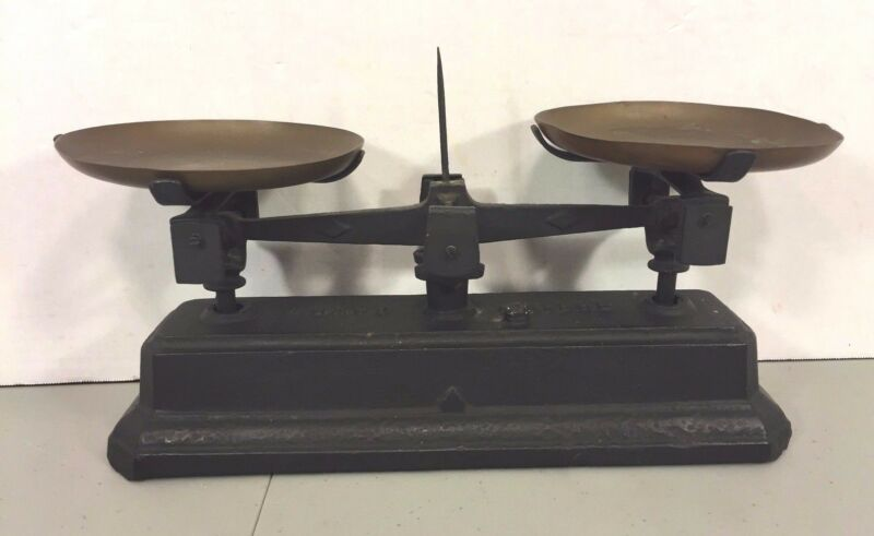 Vintage Force Balance Scale with J Cuttica Brass Pans Made in France