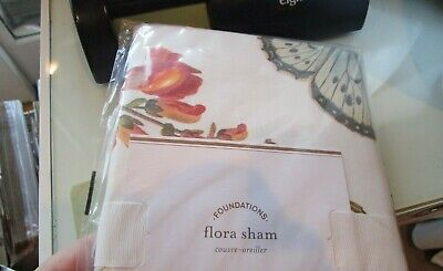 2 Pottery Barn Flora floral Garden King shams butterfly flowers  New with tag