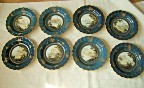 8 ANTIQUE ROYAL WORCESTER HAND DECORATED PLATES CASTLES