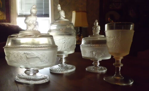Antique Vtg EAPG Pattern Glass Westward Ho Pioneer Compote Goblet LG Wright 4pc
