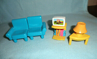 Fisher Price My First Dollhouse Living Room - sofa - TV Stand - Lamp Table