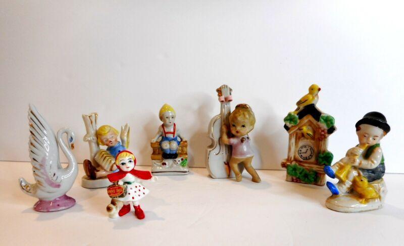 VINTAGE Japan & Occupied Japan Figurine Lot of 7 - Angel Girls, Boys and Birds
