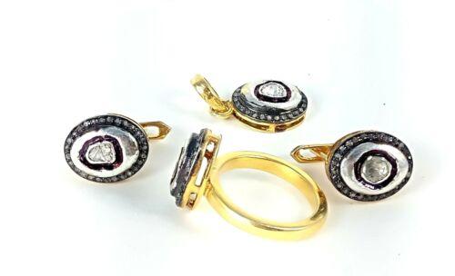 Natural Polki Diamond Ring Earring & Pendant 925 Sterling Silver Jewelry Set