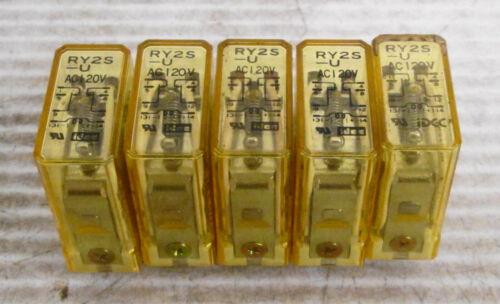 (5) IDEC RY2S-U Plug-In Relay 120VAC 3A