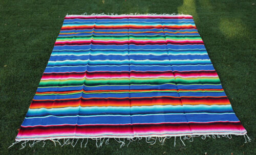 Trinity Serape 84x60 inch Mexican blanket Seat cover Lowrider motorcycle Blue.