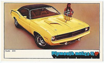 1970 Plymouth 'CUDA 340 2-Door Hardtop NOS Original Dealer Promotional Postcard