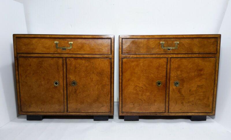 VTG Pair John Widdicomb Burl Wood Nightstands Campaign Asian Mid Century Modern