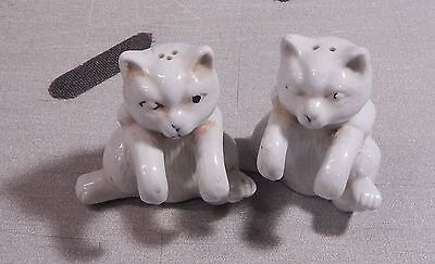 2 Vintage Rosemeade Pottery White Cat Salt & Pepper Shakers Old Thick Heavy