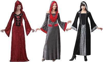 Damen lang mittelalterlich Vampir Hexe mit Kapuze Kostüm Kleid Outfit Halloween