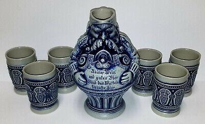 7 piece Set GERZ W GERMANY figural Man Pitcher & Six Glasses blue pottery